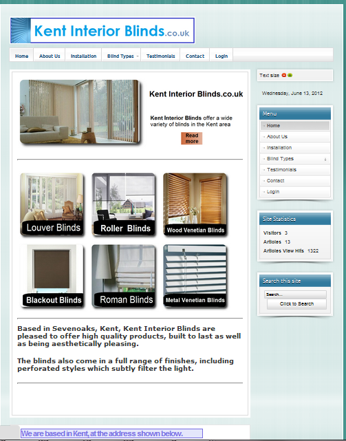 www.kentinteriorblinds.co.uk - Front page