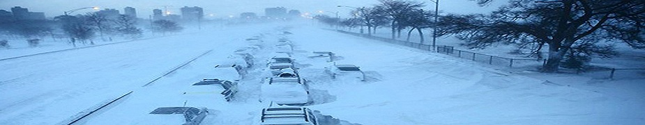 Cars are abandoned on Chicago's Lake Shore Drive during the Snowpocalypse in February 2011.